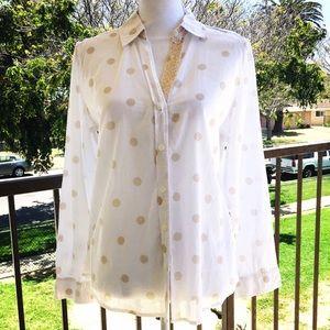 Chico's polka dot gold button sequin shirt 1